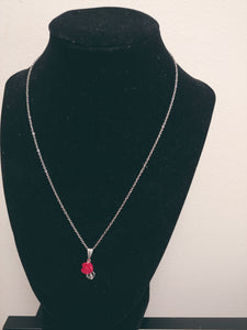 Stainless Steel Red Rose Necklace