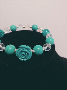 Women Turquoise Blue Beaded Rose Bracelet