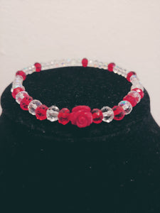 Glass Beaded Red Rose Stretch Bracelet