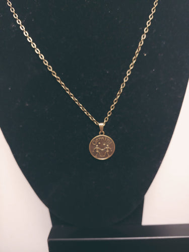 Antique Bronze Zodiac Gemini Charm Necklace