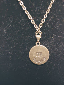 Antique Bronze Zodiac Virgo Charm Necklace