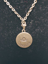 Load image into Gallery viewer, Antique Bronze Zodiac Libra Charm Necklace