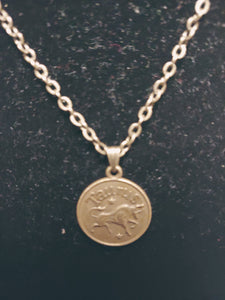 Antique Bronze Zodiac Taurus Charm Necklace
