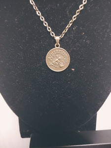 Antique Bronze Zodiac Aquarius Charm Necklace