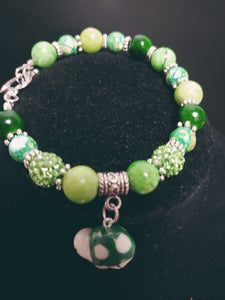 Glass Beaded Heart Toggle Bracelet