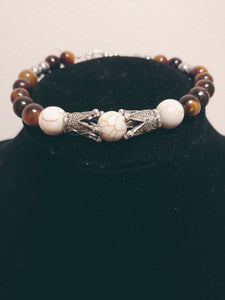 Men Howlite Round Stones w/ Tiger Eyes Bracelet