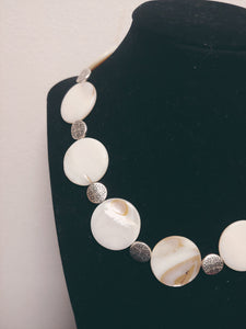 Natural Shell Lentil Toggle Necklace