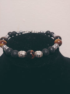 Men Natural Lava Stone Bracelet