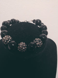 Jet Black Czech Faceted Glass Beaded Bracelet