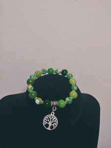 Green Beaded Glass Bracelet With Charm