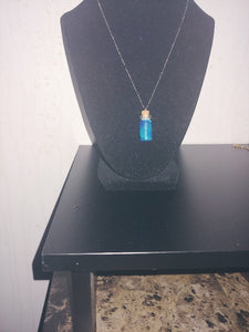 Tiny Miniature  Glow In The Dark  Bottle Necklace