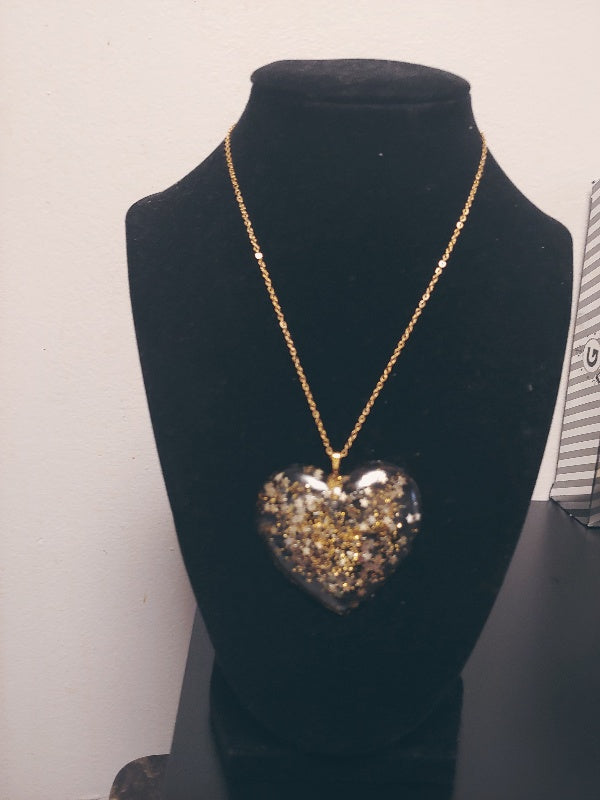Golden Star Heart Necklace
