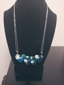 Transparent Ocean Blue Heart Necklace