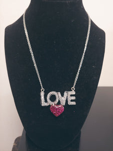 """I Love You"" Rhinestone Heart Necklace"