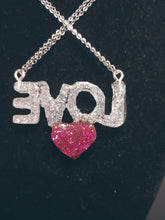 "Load image into Gallery viewer, ""I Love You"" Rhinestone Heart Necklace"