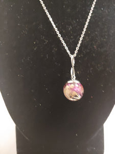 Glass Bud Dome Pendant Necklaces