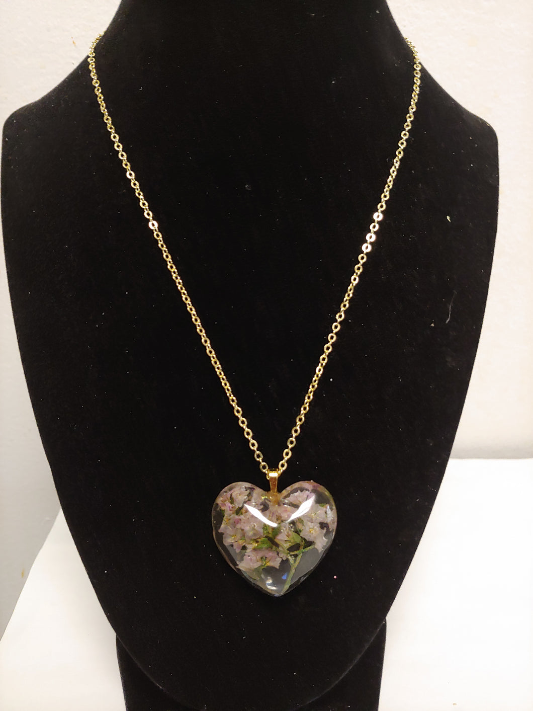 Carnation Heart Pendant Necklace