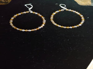 Transparent Glass Crystal Hoop Earrings
