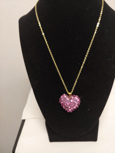 Pink Crystal Rhinestone Heart Shape Necklace
