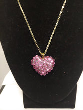 Load image into Gallery viewer, Pink Crystal Rhinestone Heart Shape Necklace