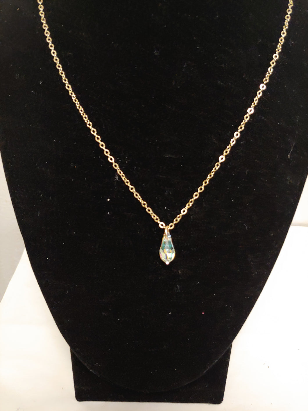 Transparent Crystal Teardrop Necklace