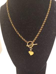 Stainless Steel Golden Heart Tag Charm Necklaces