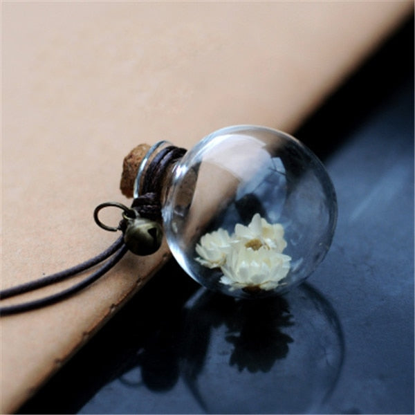 Car Pendant Glass Perfume Empty Hanging Bottle With Flower