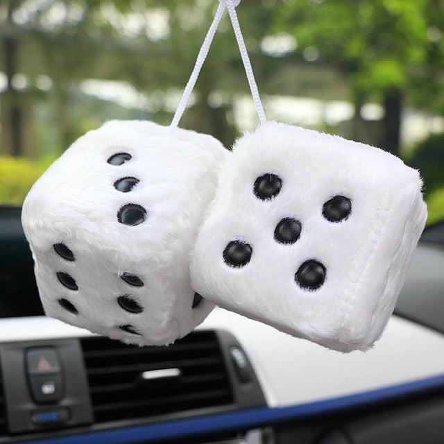 Car Pendant Colorful Plush Dice Craps