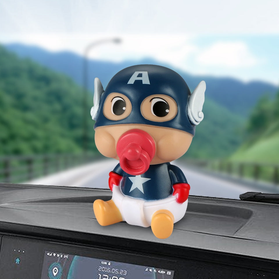 Car Ornament ABS Baby Nipple Doll For Captain America Cute Shaking Head