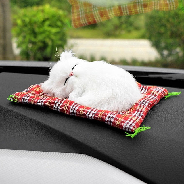 Car Ornaments Cute Simulation Sleeping Cat Lovely Plush Kittens Doll Toy