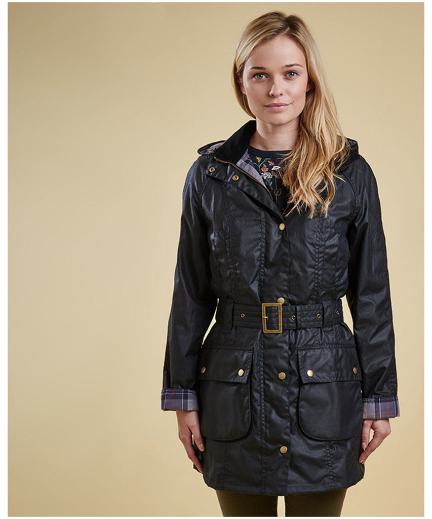 Barbour Women's Herterton Wax Belted Jacket - Navy