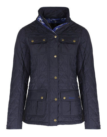BARBOUR WOMEN'S EMMA QUILTED JACKET in Olive or Navy WITH WEDGWOOD PRINT TRIM
