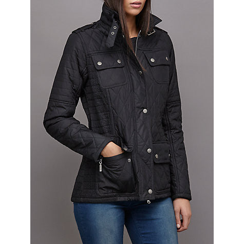 BARBOUR WOMEN'S INTERNATIONAL FIREBLADE RIBBED QUILTED JACKET, BLACK