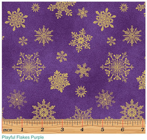 Cat-i-tude Christmas Playful Flakes on Purple
