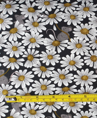 Lewis & Irene Little Mouse & Daisies on Charcoal Jersey 0.5m