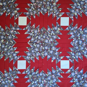 Pineapple Foundation by the Yard Quilt Kit Navy & Red