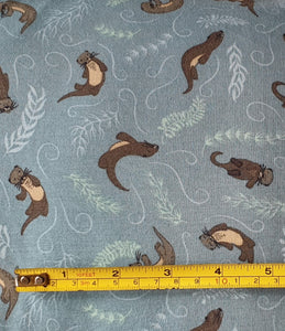 Lewis & Irene Playful Otters on Teal Jersey