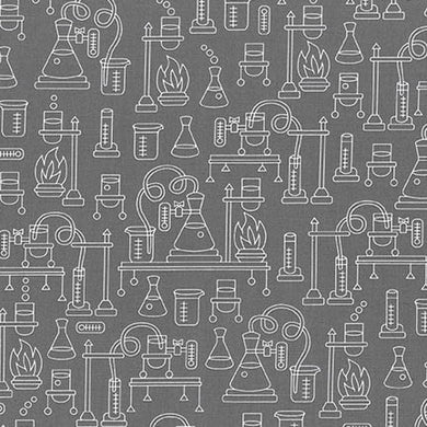 Robert Kaufman Science Fair Erlenmeyer Flasks on Grey