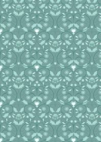 Lewis and Irene Michaelmas Teal Mono Floral