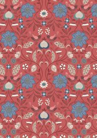 Lewis and Irene Michaelmas Little Bird Floral on Soft Red