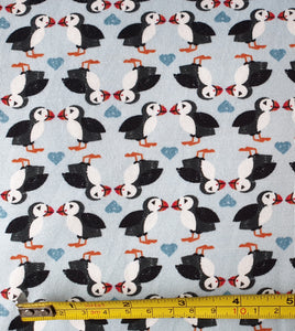 lewis & Irene Puffin Pairs on Blue Jersey 0.5m