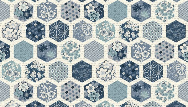 Indigo Hexagons Cream