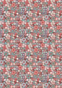 Lewis and Irene Michaelmas Multi Floral on Soft Red