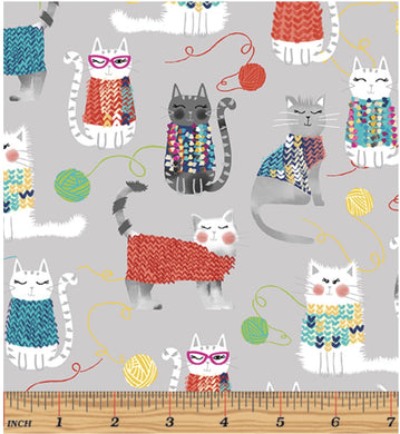Bernatex Knit Together Cats on Grey 7871-11