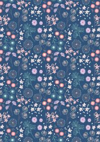 Purbeck Flowers on Dark Blue