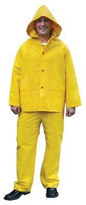 2003 - Classic, .35mm PVC/Polyester 3 pc suit, Detachable Hood, Snap Front Jacket & Bib Pant, Yellow