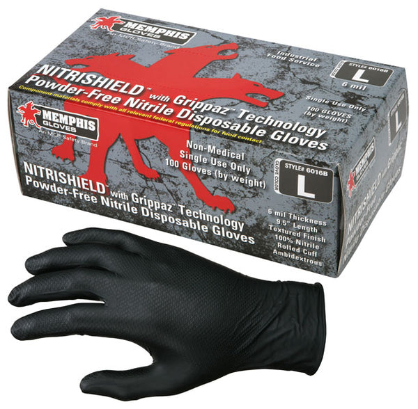 6016B - NitriShield® with Grippaz™ Technology, Black Nitrile, 6 mil, 9.5 inch