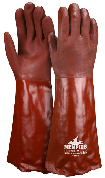 "6458S - Premium Red Double Dipped PVC,Nitrile Reinforced, Jersey Lined, 18"" Length"