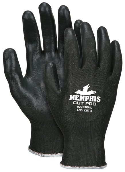 92733PU - Memphis Cut Pro™ 13 Gauge, Black HPPE/Synthetic Shell, Black PU Palm/Fingers