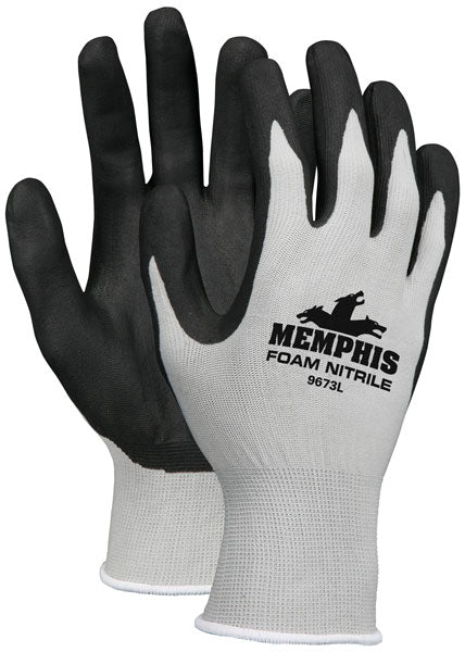 9673 - Memphis™, 13 Gauge Gray  Nylon, Black Nitrile Foam Dipped Palm/Fingers